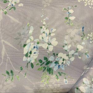 NWOT Grayish Blue Sheer Floral Window Scarf